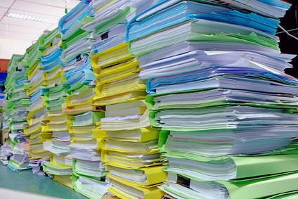 big lot of document pile